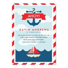 Nautical Sailor or Pirate Themed Birthday Party Invitation