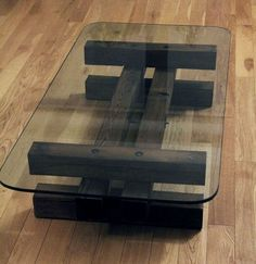 Glass and Wood Coffee Table: