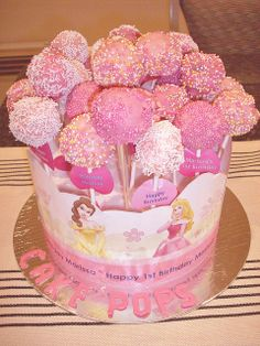 Cake Pops, Disney Princess, Pink, Available White or Chocolate, Individual Serving Size, Sold ONLY BY THE DOZEN
