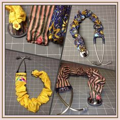 """Stethoscope cover. Cut fabric 6"""" x 32"""". Sew a hem at both ends (leave room for elastic on the bottom hem). Fold and sew the long way. Cut a piece of elastic about 5"""" long. Attach a button to one end and make the other end into a loop. Thread elastic through the bottom hem."""
