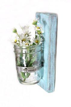 Shabby chic decor wood wall vase cottage style LIGHT TURQUOISE. $22.00, via Etsy.