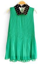 Green Polka Dot Loose Lapel Sleeveless Chiffon Dress $32.8  #SheInside #hipster #love #cute #fashion #style #vintage