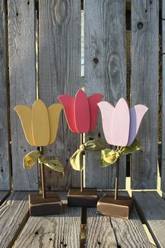 Tulips Spring OR Summer Flower Set seasonal spring easter gift personalized primitive block photography prop $22.95