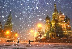 Moscow snowy night