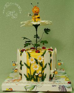 """Children's Birthday Cakes - Cake """"Bee Maya - the princess. Bee Cakes, Fondant Cakes, Cupcake Cakes, Cake Original, Bee Birthday Cake, Gravity Defying Cake, Spring Cake, Gateaux Cake, Animal Cakes"""