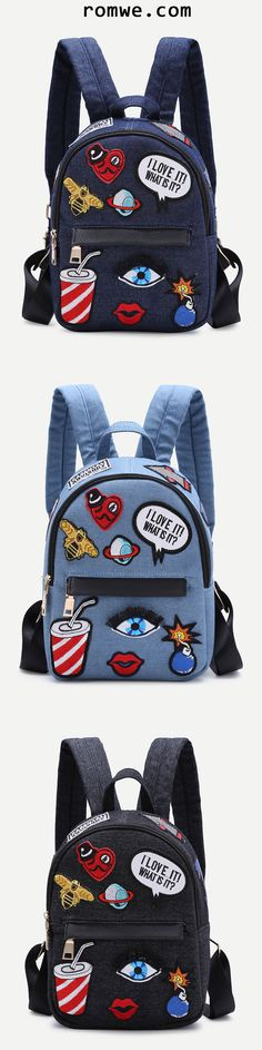 Shop Dark Blue Zip Front Cartoon Patch Mini Backpack at ROMWE, discover more fashion styles online. Backpack Purse, Mini Backpack, My Bags, Purses And Bags, Sacs Design, Back Bag, Fashion Bags, Womens Fashion, Cute Backpacks