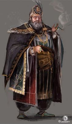 character concept male human fat noble royal cleric smoke cloth rings merchant fur realistic Martin Deschambault