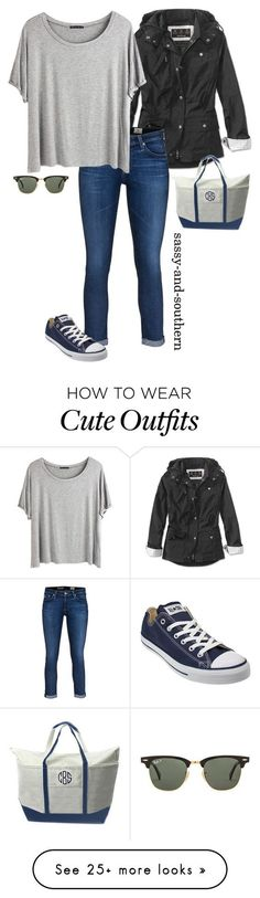 """cute fall outfit"" by sassy-and-southern on Polyvore featuring Barbour, AG Adriano Goldschmied, Chicnova Fashion, Ray-Ban, CB Station, Converse, converse, rayban and sassysouthernfall:"
