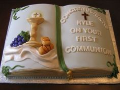 Communion Cake All accents are edible out of fondant. Marble cake with Vanilla buttercream filling.