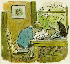 Artwork by Edward Ardizzone English artist and creator of children's books Reading Art, Kids Reading, Edward Ardizzone, Children's Book Illustration, Book Illustrations, Book Nerd, Cat Art, Kitsch, Book Lovers