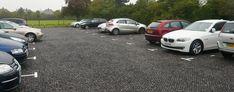 Porous plastic paving grids retain gravel in place for gravel car parking