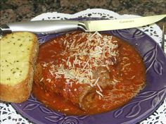 Braciola - Braciole (Italian Stuffed Beef Rolls) from Food.com: Wonderful cheese-stuffed beef rolls simmered in pasta sauce. A great Sunday afternoon meal. I serve with a side of pasta and fresh steamed veggies.