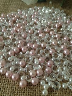 500 Pcs Pearls & Diamond Mixes White/Light Pink Pearl Clear   Etsy Shell Decorations, Pearl Decorations, Wedding Decorations, Blush Wedding Reception, Reception Table, Wedding Attire, Candle Centerpieces, Votive Candles, Pearl Baby Shower