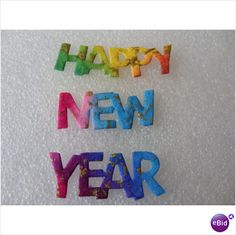 Rainbow 'Happy New Year' Text Die Cut Toppers Pack of 10 Sets