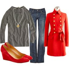 Great for a day tour in London or at Buckingham Palace.  Very Regal red coat.