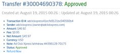 My 29th payment proof from ACX! I WORK FROM HOME less than 10 minutes and I manage to cover my LOW SALARY INCOME. If you are a PASSIVE INCOME SEEKER, then AdClickXpress (Ad Click Xpress) is the best ONLINE OPPORTUNITY for you.Start with zero money and STILL make money at ACX. It is absolutely possible, because we see thousands of Members doing it every single day. Check it out! Thank You ACX!!!!  http://www.adclickxpress.com/?r=sojcica&p=mx
