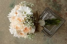 Country wedding carnations  daisy burlap country wedding bouquet