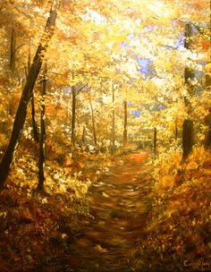 Lanterns of gold by Connie Tom. Last week was like this in our woods - golden canopy over golden fallen leaves on the ground. It was beautiful, and even though the skies were gray the woods looked bright and cheery.