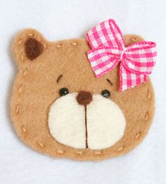Handmade Pet Felt Applique Baby Girl Bear, leave off the bow and it works for boys!