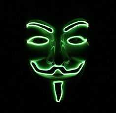 This is what the LED Guy Fawkes Mask signifies. When the lights go off, and the EL Wire emblazons what many know as the Light Up V For Vendetta Mask, there is no solace in the darkness. Halloween Masquerade, Halloween Masks, V For Vendetta Mask, Dark Mask, Guy Fawkes Mask, Anonymous Mask, Halloween Led Lights, Halloween Costumes For Kids, Light Up
