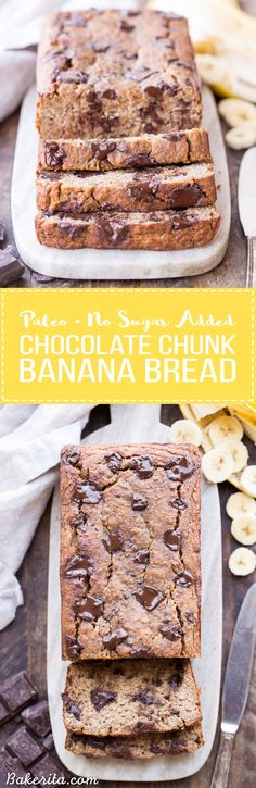 This Paleo Chocolate Chunk Banana Bread is sweetened only with bananas for a guiltless treat that tastes just like traditional banana bread! This is easy recipe you'll come back to again and again. This paleo banana bread is also gluten-free, grain free, and sugar-free.