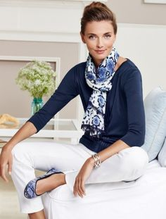 Blue Python-Print Scarf, Navy Top and White Pants/Jeans