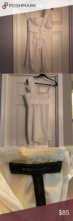 BCBG white cocktail dress. Beautiful white cocktail dress from BCBG. Wore only once for the after party at my wedding. It's in great condition. Clean. Practically brand new. BCBGMaxAzria Dresses One Shoulder