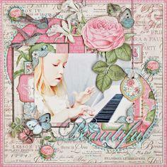 """Beautiful"" layout using Graphic 45 ""Botanical Tea"" by Robin Shakoor."