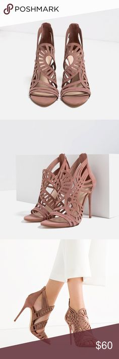 "Brand new leather sandals Gorgeous openwork, 100% goat leather heel height 3.9"". Brand new with tag, no trade. Bundle to save more❗️ Zara Shoes Heels"