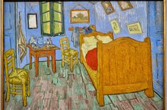 """The Bedroom 1889 Painting by Vincent van Gogh. The Art Institute of Chicago Van Gogh made three versions of this painting, depicting a room in his """"Yellow House"""" in Arles, in the south of France. Art Van, Van Gogh Art, Vincent Van Gogh, Van Gogh Pinturas, Van Gogh Paintings, Oil Painting Reproductions, Art Institute Of Chicago, Art Google, Art History"""