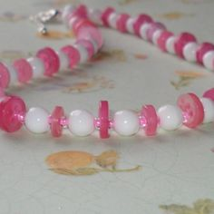 Strawberry Crush! Vintage Beads and Pink Button Necklace £4.00