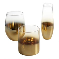 Gold Metallic Ombre Glassware Set of 4 - Dof by World Market Stemless Champagne Flutes, Stemless Wine Glasses, Vinyl Record Storage, Lp Storage, World Market Store, White Wine Glasses, Old Fashioned Glass, Alcoholic Drinks, Gold