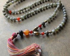 Beautiful frosted hematite gemstone mala by look4treasures on Etsy