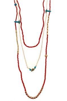 Triple-layered Beaded Necklace #Romwe
