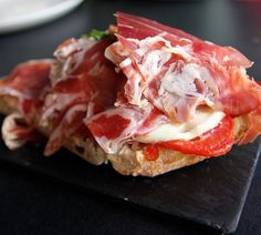 Madrid Spain Food & Travel Blog - Mozzarella, Iberian ham and porcini mushroom on toast