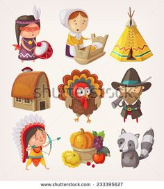 Set of thanksgiving items and characters - stock vector