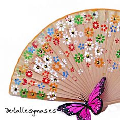 Abanico pintado Margaritas Vintage Fans, Paper Fans, Craft Club, Fabric Dolls, Diy Gifts, Oriental, Fan Art, Antiques, Floral