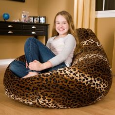 The Large Faux Suede Animal Print Bean Bag Chair is perfect for lounging while watching TV, listening to music, reading, or studying.