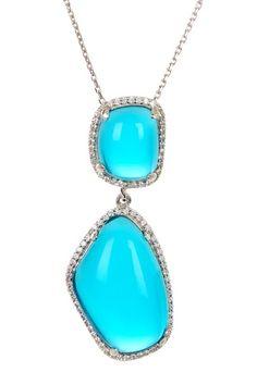 Sterling Silver Double Blue Quartz Geo CZ Drop Pendant Necklace by Adam Marc on @HauteLook