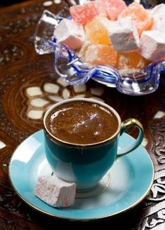 Turkish coffee in turquoise cup and Turkish delight (lokum) Turkish Delight, Turkish Recipes, Greek Recipes, Coffee Cafe, Coffee Drinks, Coffee Menu, Coffee Poster, Coffee Humor, Coffee Shop