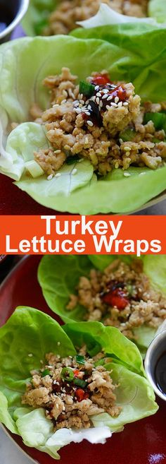 Turkey Lettuce Wraps – healthy lettuce wraps recipe with ground turkey with a Hoisin-Sriracha dipping sauce. Perfect appetizer for Thanksgiving   rasamalaysia.com #spon