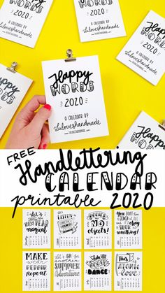 Free Calendar, Calendar 2020, Berlin, Word Free, Happy Words, Doodles, Printables, Calligraphy, How To Make