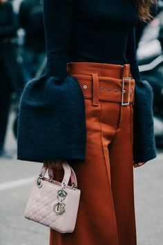 Dear stylist, please ignore those giant sleeves! What interested me in this picture was a vibrant color and the trousers with a high waist but the large belt still cinching and defining, and then the wide leg of the trouser.