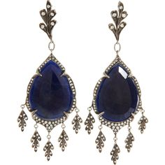 Cathy Waterman Sapphire Diamond Earrings