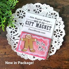 "Packaged for Gift Giving MAGNET 2""x3"" * BITE ME! Fridge gingerbread Made in USA  #DecorativeGreetingsInc #RefrigeratorFileMagnetGift"