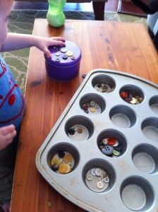 """We normally put old cake trays in the malleable area, but why not use them on the maths table or 'finger gym' for sorting, counting etc ("""",)"""