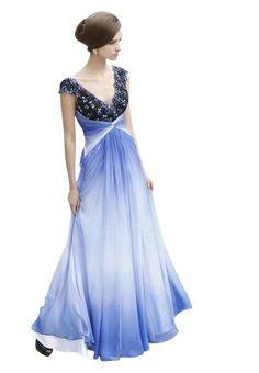 Blue V Neck Floor Length Evening Dress with Beading Affordable Evening Dresses, Blue Evening Dresses, Prom Dresses, Formal Dresses, Wedding Dresses, Blue V, Red Carpet Dresses, Evening Party, V Neck