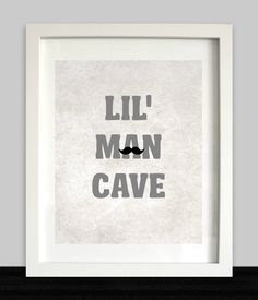 Lil Man Cave Print // Boys Wall Art // Nursery door NothingPanda