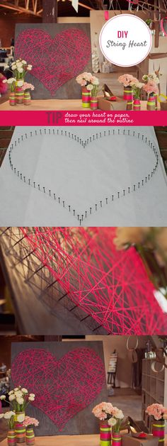 diy string heart art-good project for Lydia? Cute Crafts, Creative Crafts, Crafts To Do, Crafts For Kids, Arts And Crafts, Diy Crafts, Craft Day, Craft Gifts, Deco Scrabble