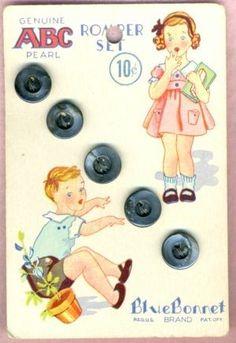 Genuine ABC Pearl Romper Set ~ Blue Bonnet Brand button card, ca. Vintage Labels, Vintage Buttons, Vintage Cards, Vintage Postcards, Sewing Art, Sewing Crafts, Button Cards, Button Button, Button Nose